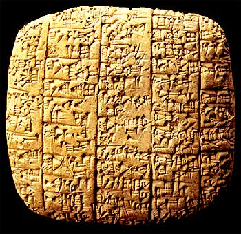Translation of a list of Sumerian charachtars on Clay, The Royal Palace, Ebla